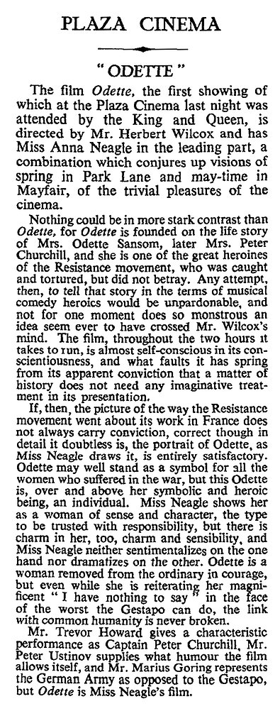 Odette review in The Times 7 June 1950