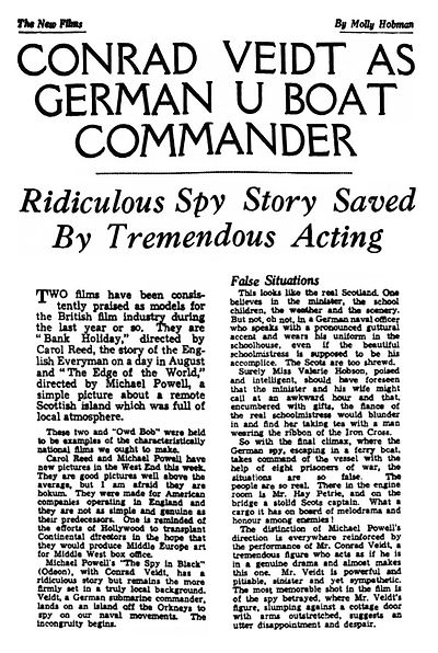 The Spy in Black review in the Nottingham Journal 29 July 1939