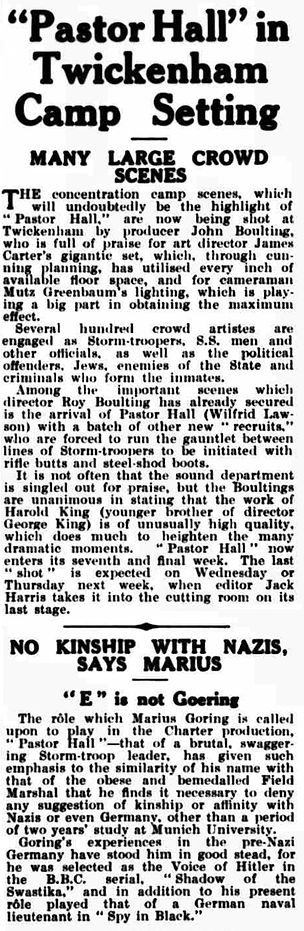 Pastor Hall article in the Kinematograph Weekly 7 March 1940