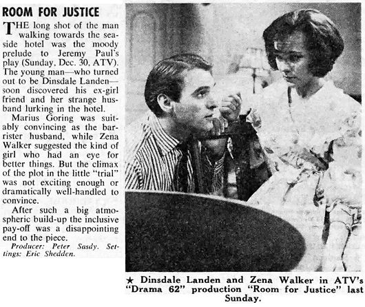 Room for Justice review in The Stage 3 January 1963
