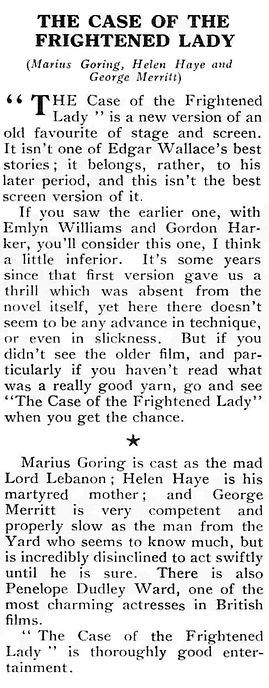 The Case of the Frightened Lady review in Reveille 31 August 1940