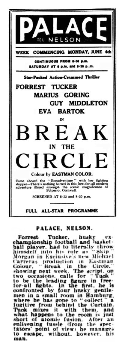Break in the Circle advert & article in the Nelson Leader 3 June 1955