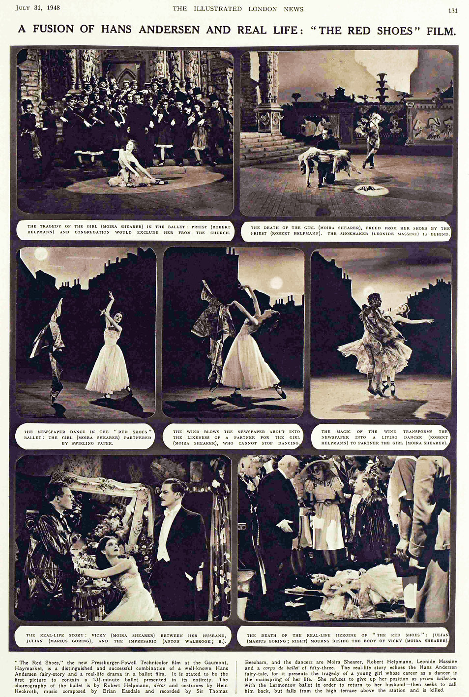 The Red Shoes article with photos in the Illustrated London News 31 July 1948