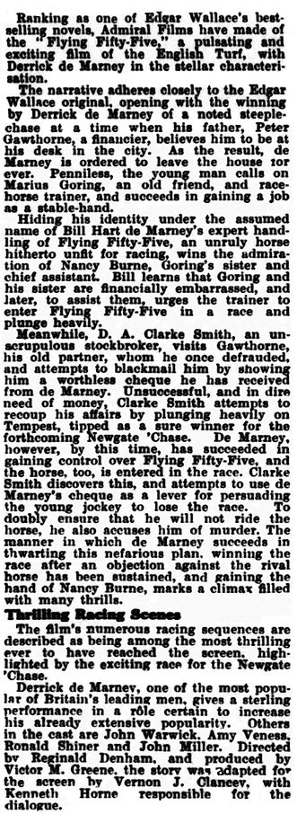 Flying Fifty-Five review in the Kinematograph Weekly 27 April 1939