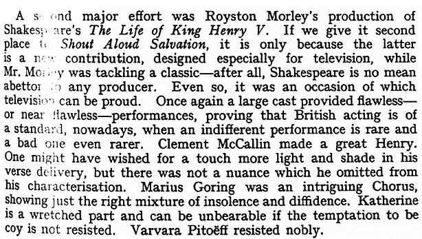 'The Life of King Henry V' review in The Sketch 9 May 1951