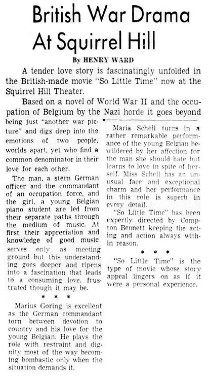 So Little Time review by Henry Ward in The Pittsburgh Press 3 July 1954