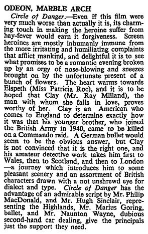 Circle of Danger review in The Times 23 April 1951
