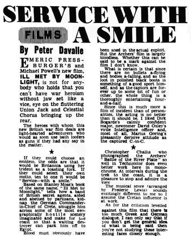 Ill Met By Moonlight review in the Western Mail 25 February 1957