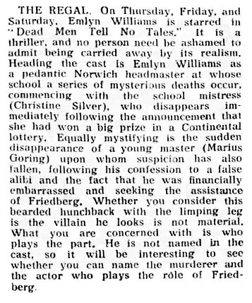 Dead Men Tell No Tales review in the Fife Herald 4 January 1939