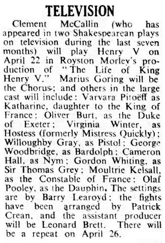 'The Life of King Henry V' article in The Stage 19 April 1951