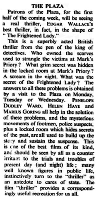 The Case of the Frightened Lady review in the Bognor Regis Observer 12 October 1940