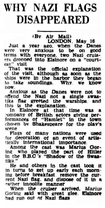 Why Nazi flags disappeared article in the Newcastle Sun 22 June 1940