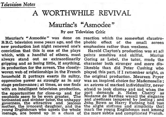 Asmodée review in The Guardian 10 June 1959