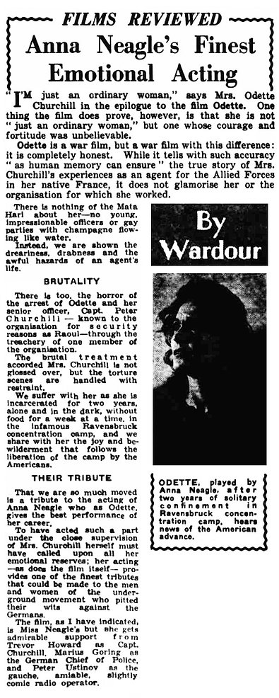 Odette review by Wardour in the Leicester Evening Mail 12 June 1950