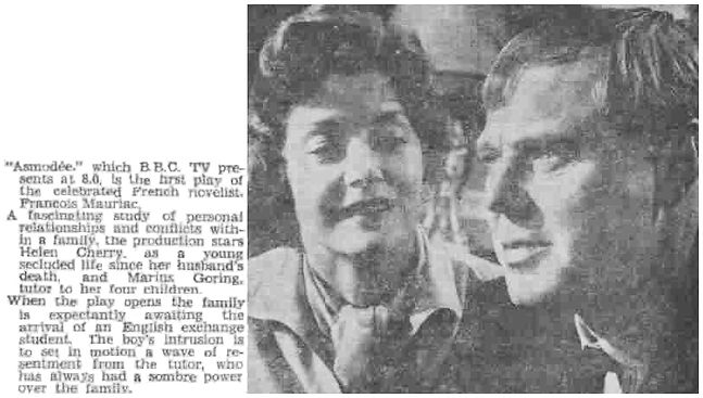 Asmodée review in the Coventry Evening Telegraph 9 June 1959