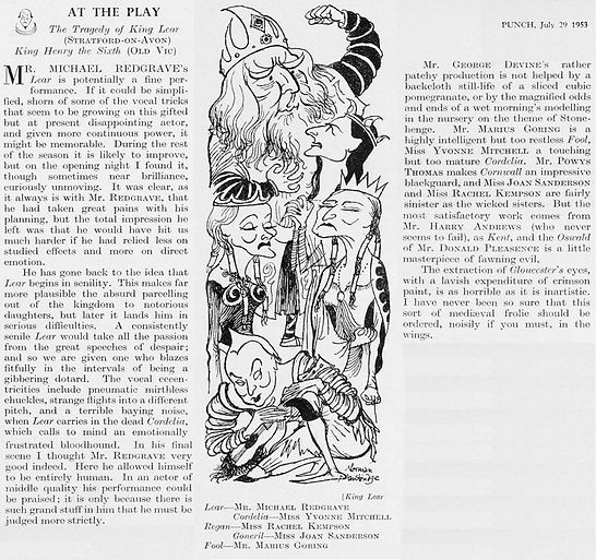 King Lear review by Eric Keown with cast caricatures by Norman Mansbridge in Punch 29 July 1953