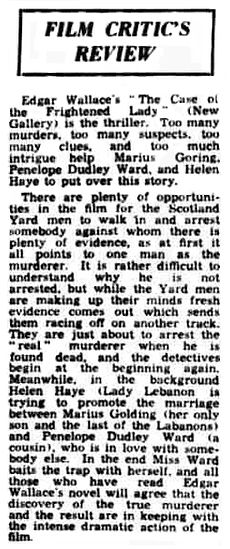 The Case of the Frightened Lady review in the Bradford Observer 16 August 1940