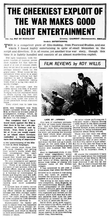 Ill Met By Moonlight review in the West London Observer 1 March 1957