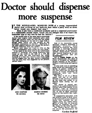 Family Doctor/Rx Murder review in the Belfast Telegraph 20 May 1958