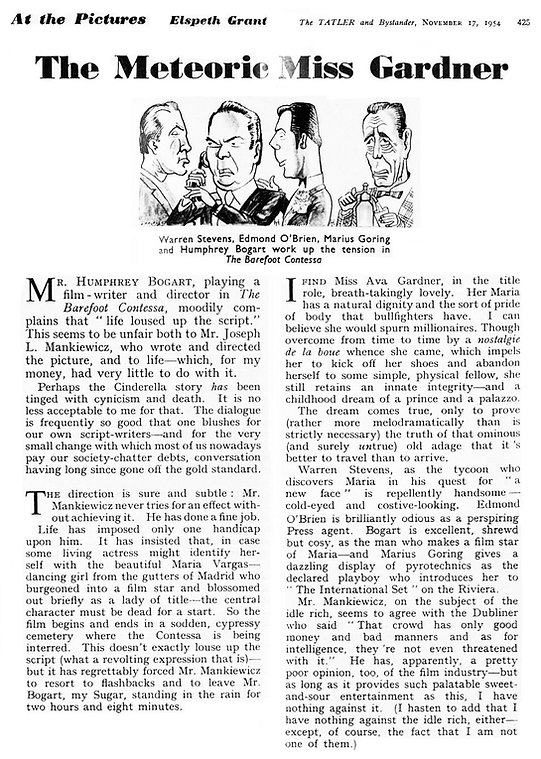 The Barefoot Contessa review in The Tatler 17 November 1954