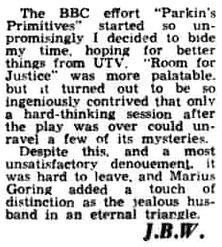 Room for Justice review by JBW in the Belfast Telegraph 31 December 1962