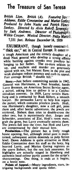 The Treasure of San Teresa review in the Kinematograph Weekly 19 November 1959