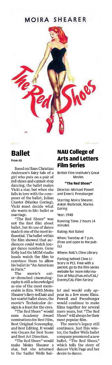 The Red Shoes review in the Arizona Daily Sun 10 February 2017