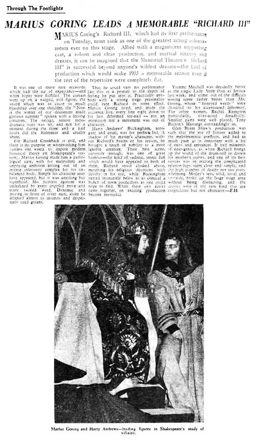 Richard III review in the The Leamington Spa Courier and Warwickshire Standard Review 27 March 1953