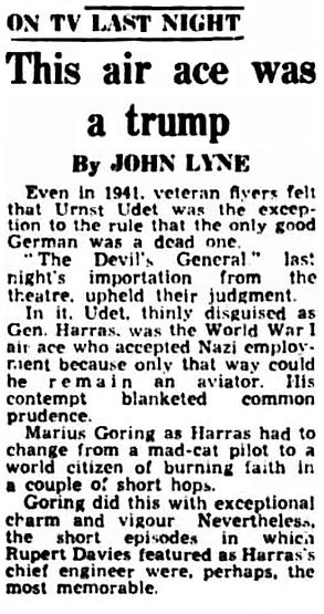 'The Devil's General' review in the Western Mail 19 December 1955