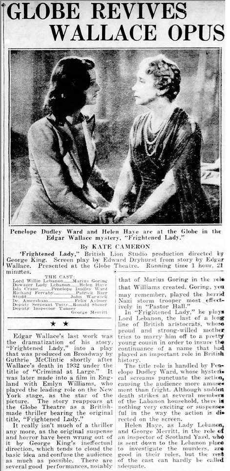 The Case of the Frightened Lady review in the Daily News New York on 9 November 1941