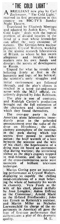 The Cold Light review in The Stage 2 August 1956