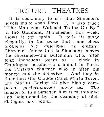 The Man Who Watched Trains Go By review in The Guardian 27 January 1953