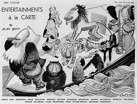 Cast of Noah caricatures in The Tatler 24 July 1935