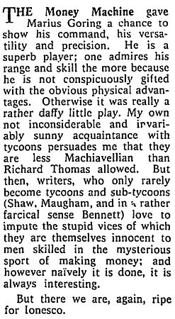 The Money Machine review by Maurice Wiggin in The Sunday Times 10 June 1962
