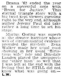 Room for Justice review in the Evening Express 31 December 1962