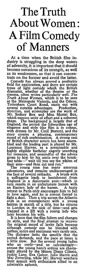 The Truth About Women review in The Times 17 February 1958