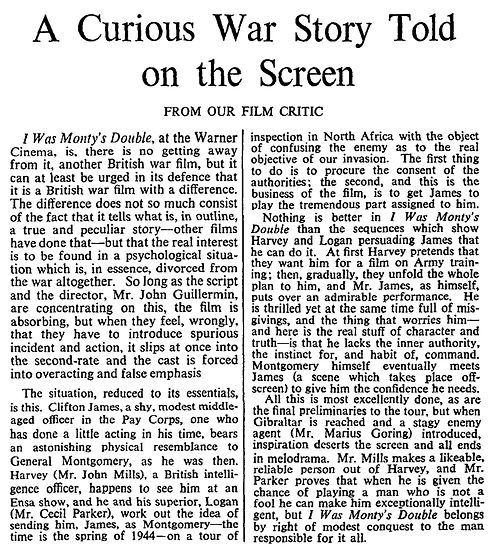 I Was Monty's Double review in The Times 22 October 1958