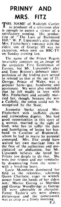 'The Lass of Richmond Hill' review in The Stage 13 June 1957