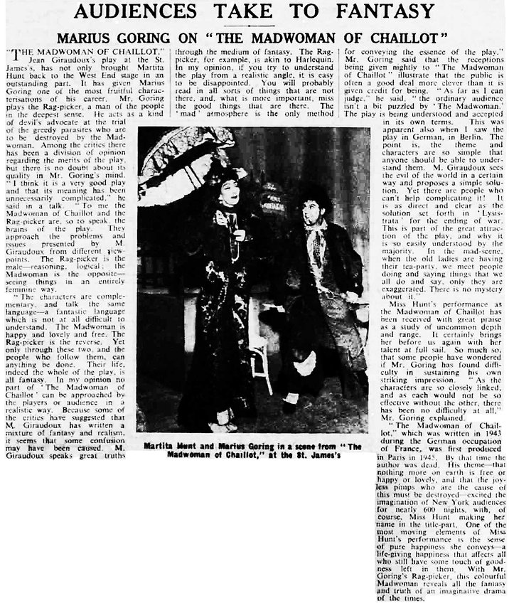 The Madwoman of Chaillot article in The Stage 1 March 1951