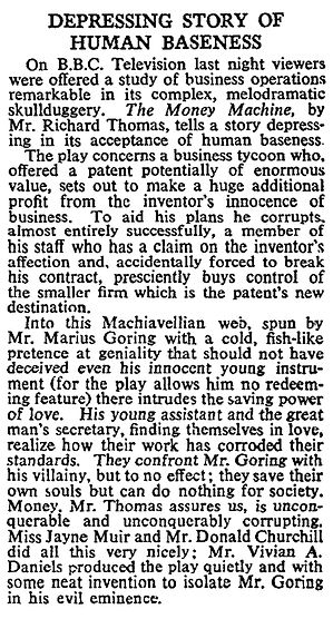 The Money Machine review in The Times 4 June 1962