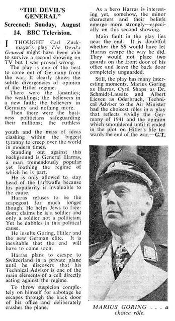 The Devil's General review in The Stage 16 August 1960