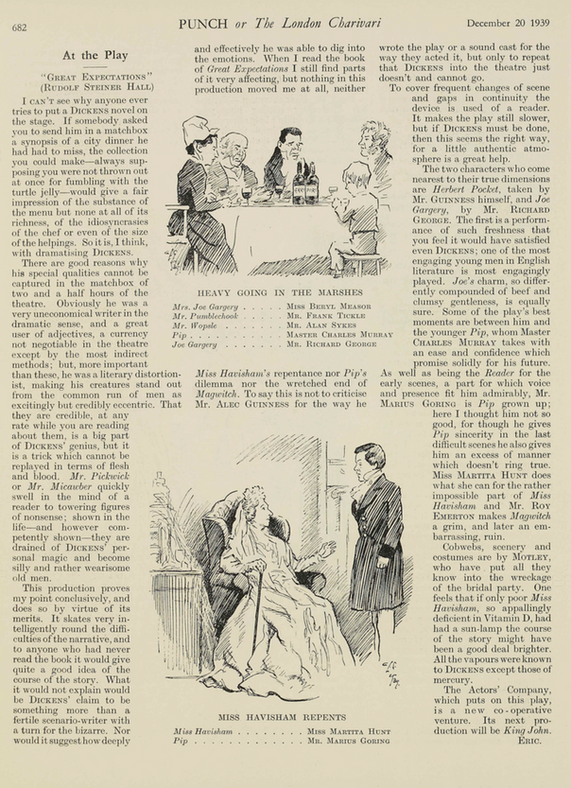 Great Expectations review with illustrations by Eric Keown in Punch 20 December 1939