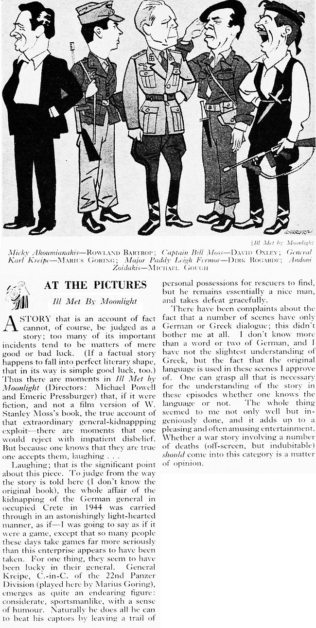 Ill Met By Moonlight review by Richard Mallett & cast caricature by Sherrif in Punch 13 February 1957