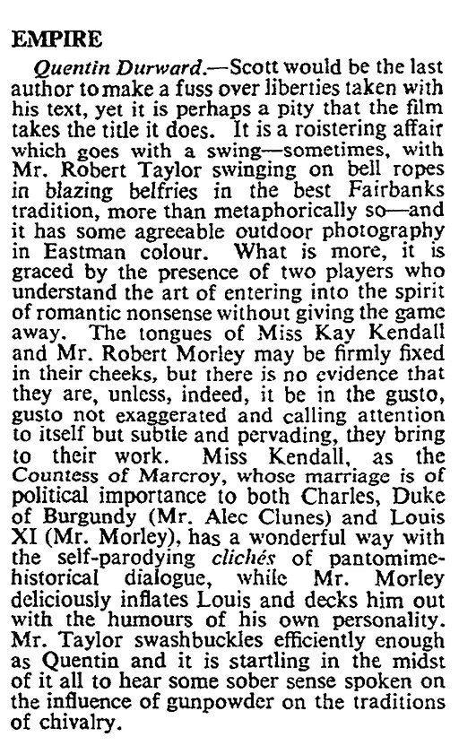 Quentin Durward review in The Times 5 March 1956