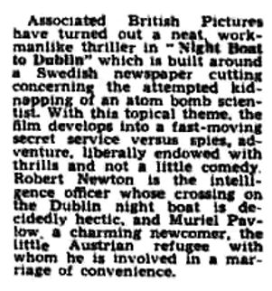 Night Boat to Dublin review in the Harrow Observer 28 March 1946