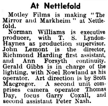 The Mirror and Markheim article in the Kinematograph Weekly 24 December 1953