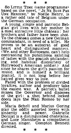 So Little Time review by Campbell Dixon in The Daily Telegraph 21 April 1952