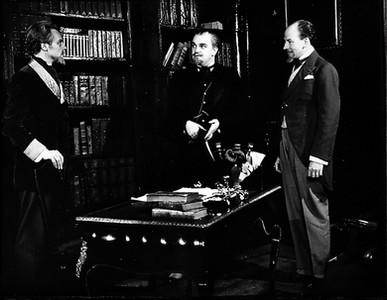 Marius Goring, Elwyn Brook Jones & Stanley Van Beers in 'Rosmersholm' by Henrik Ibsen at the Arts Theatre, London 1948
