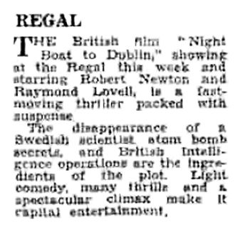 Night Boat to Dublin review in the Gloucestershire Echo 26 March 1946