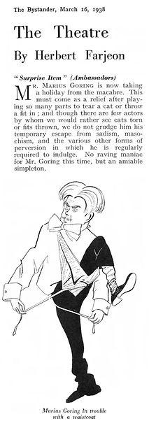 Marius Goring caricature as Arthur Primmer in Surprise Item 16 March 1938